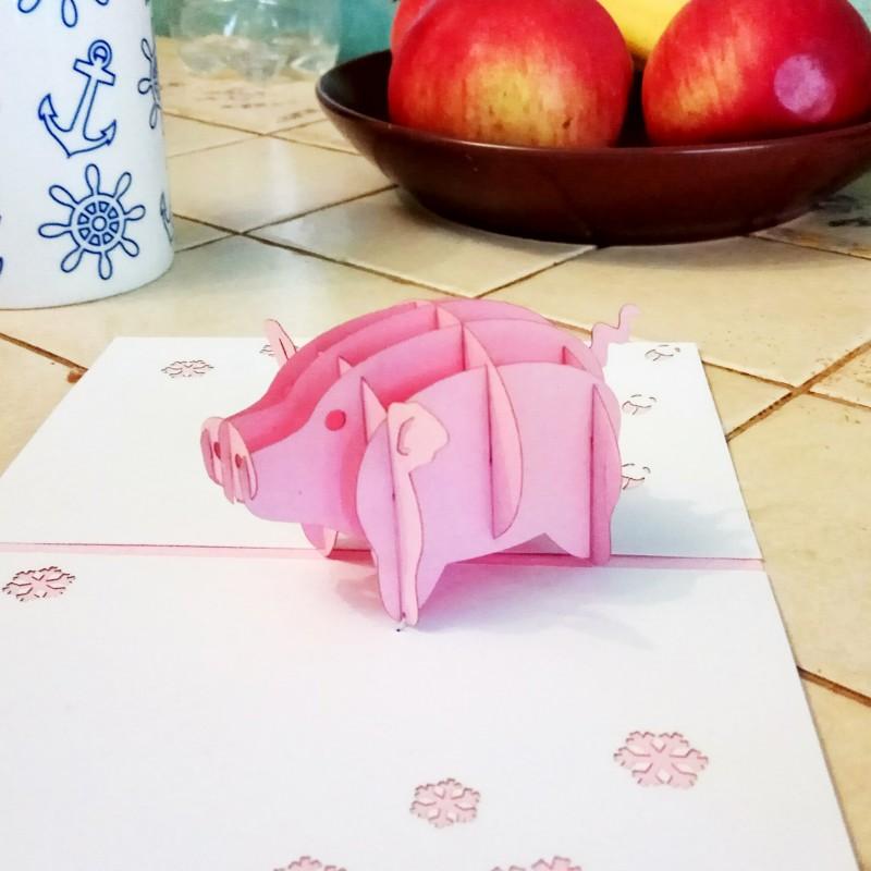 Объемная свинка из бумаги внутри