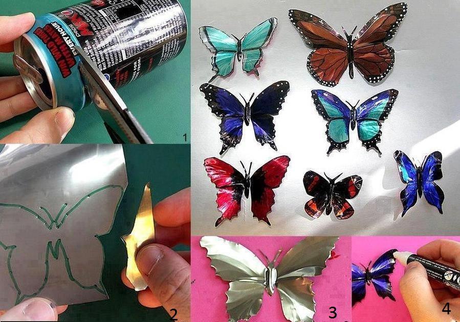 Изготовление бабочек из жестяных банок
