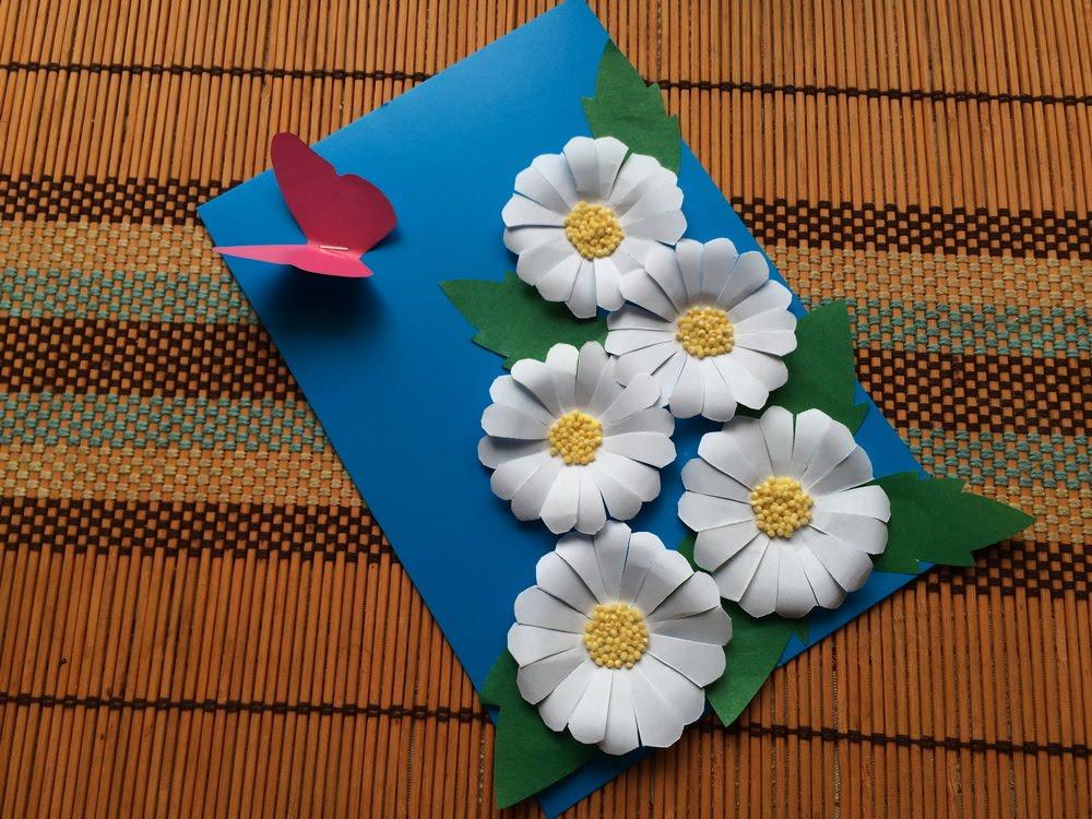 Открытка из цветной бумаги с цветами 83
