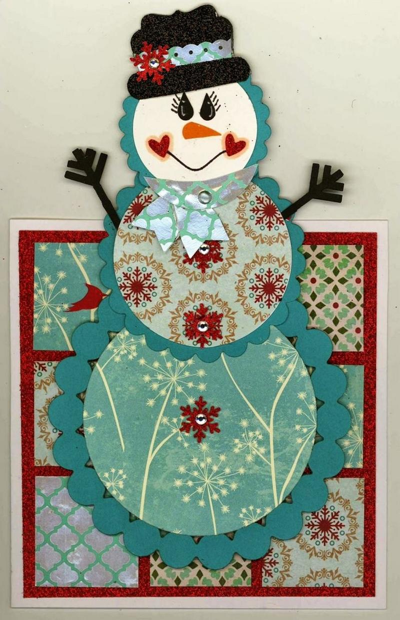 Открытка в виде снеговика