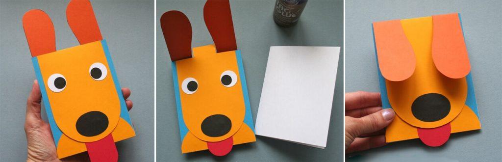 Изготовление открытки-собачки
