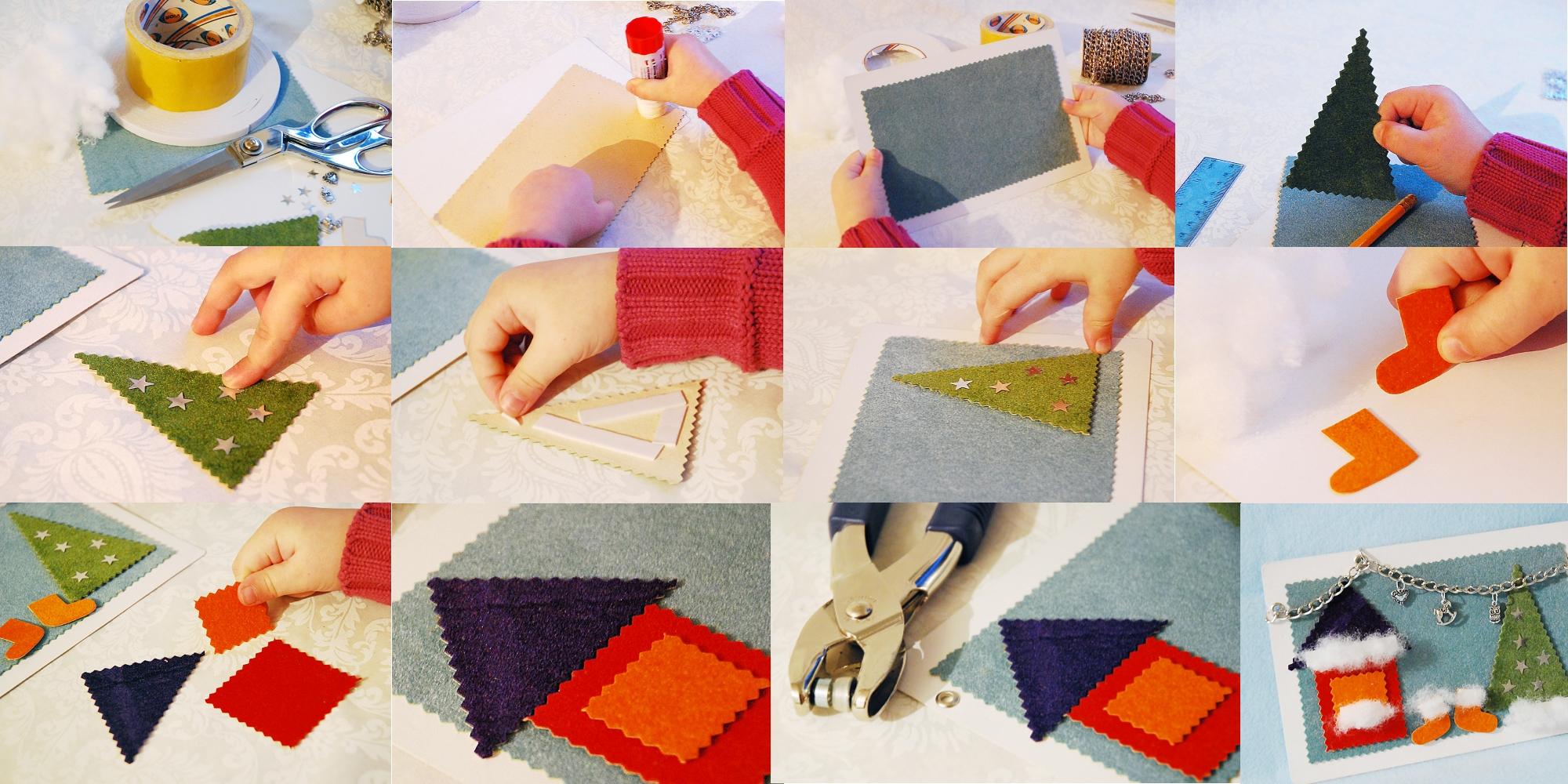 Изготовление бархатной Новогодней открытки своими руками