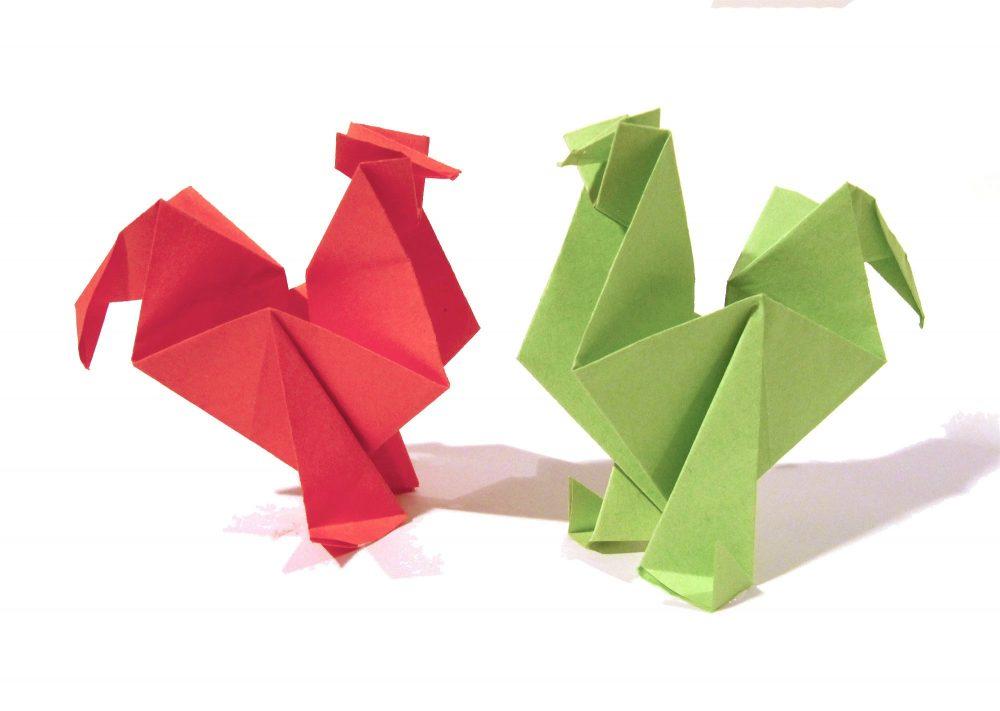 Петушки в технике оригами