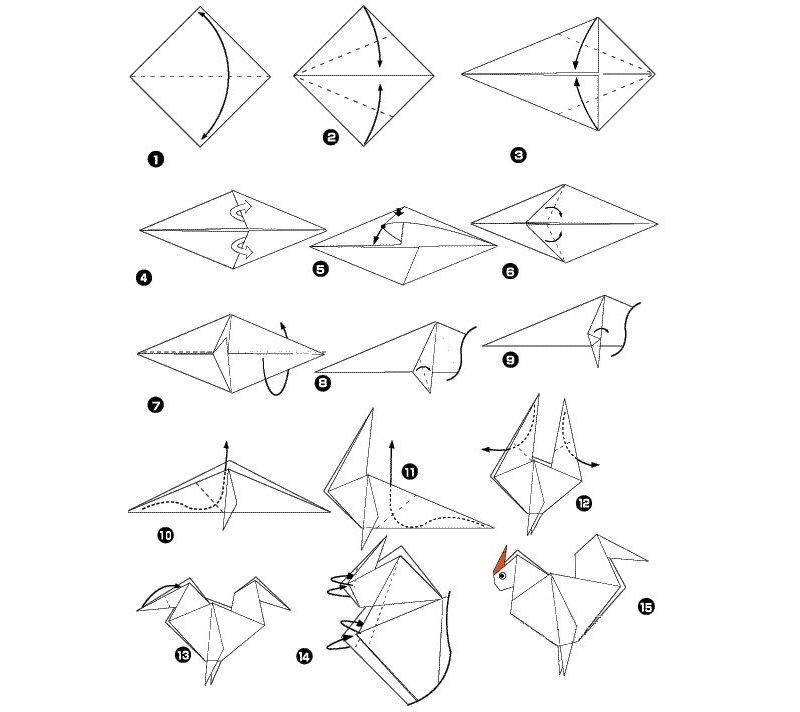 Схема петушка в технике оригмаи