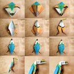 Сборка попугая из бумаги