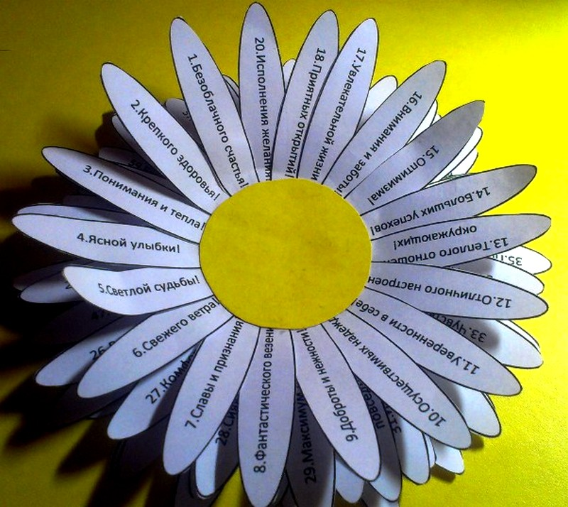Пожелания на цветке своими руками 5