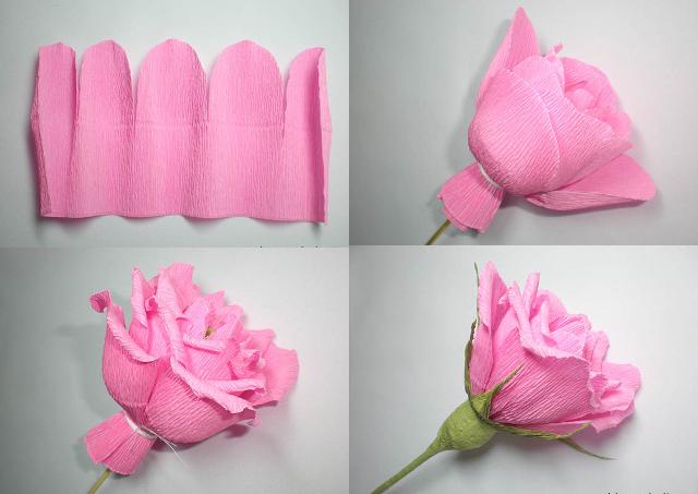 Фото мастер класс по розе из гофрированной бумаги