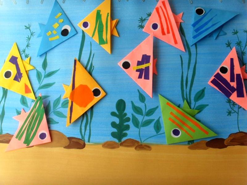 Аппликация с рыбками в технике оригами