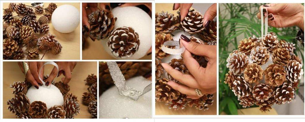 Изготовление елочного шара из шишек