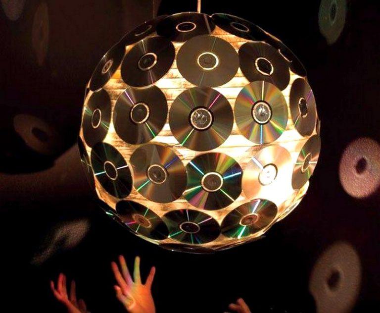 Поделки из сд дисков светильник своими руками