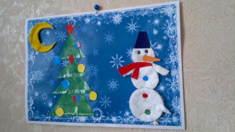 Снеговик из ватных дисков для открытки