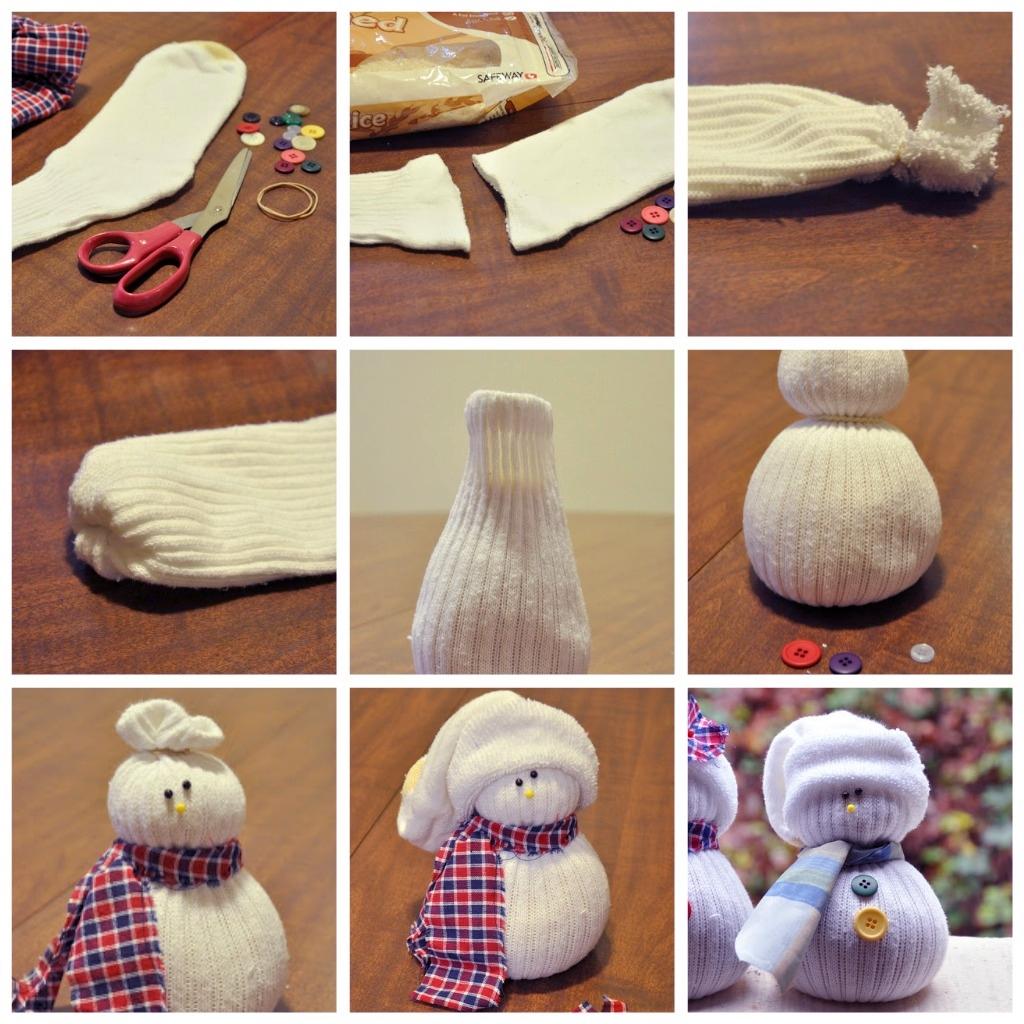 Снеговик из носка своими руками мастер