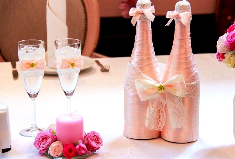Шампанское украшение на свадьбу своими руками