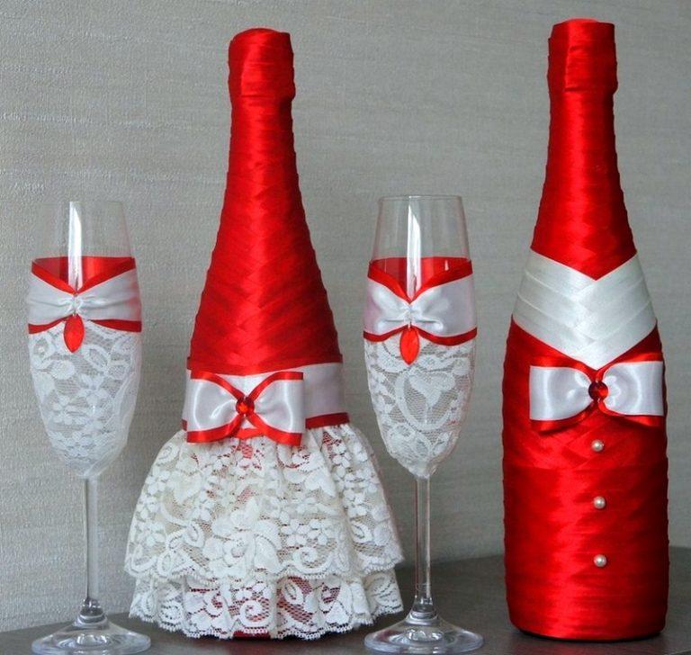 Бутылки шампанского лентами на свадьбу своими руками