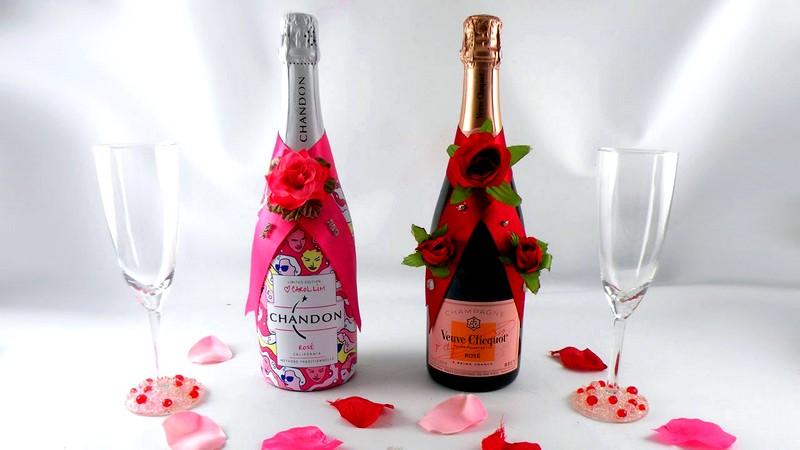 украшение шампанского руками