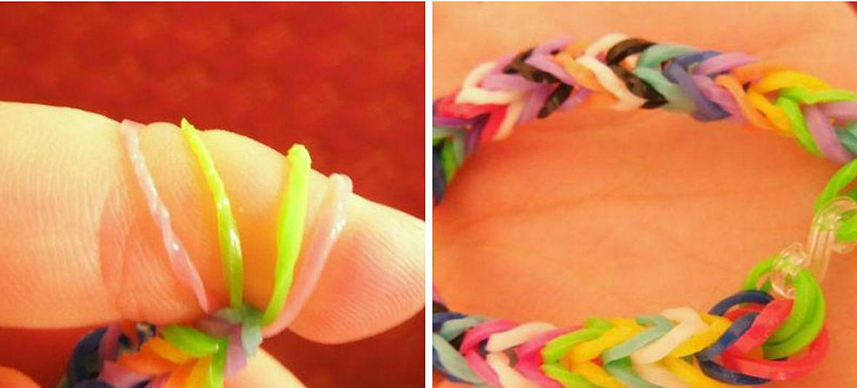 По цветам резиночки нужно чередовать в соответствии со схемой