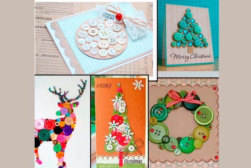 Варианты новогодних открыток с пуговицами