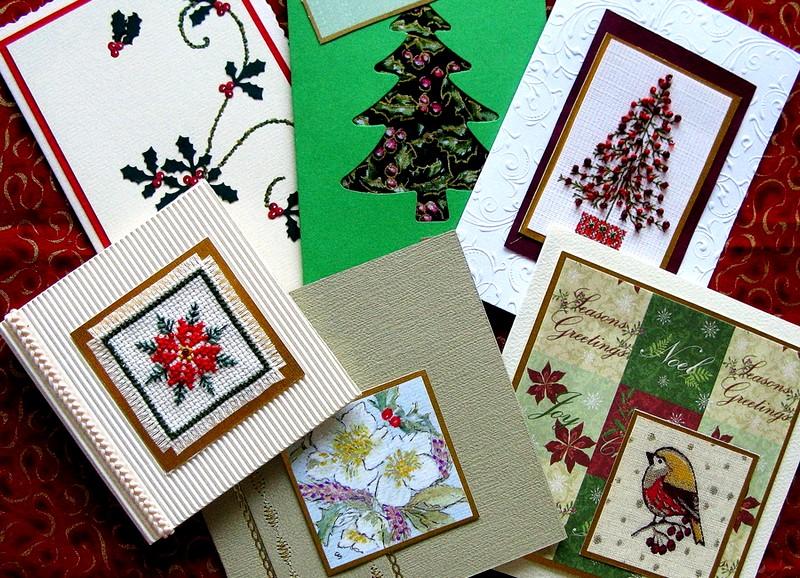 Новогодние открытки с вышивкой