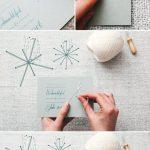 Фото 70: Украшение новогодней открытки вышитыми снежинками из ниток