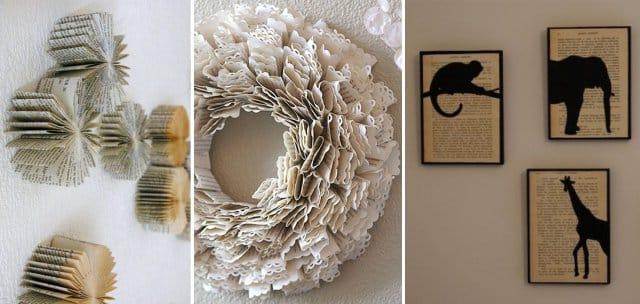 Стены можно украсить панно из книг
