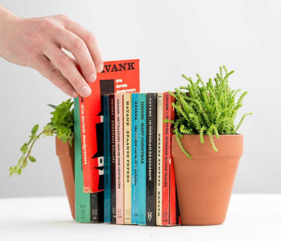 Держатели для книг в виде цветочных горшков