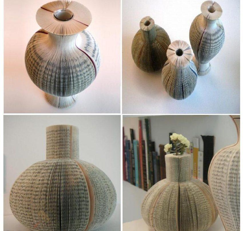 Изготовить вазочку из старых книг легко