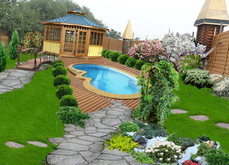 Дизайн участка с бассейном