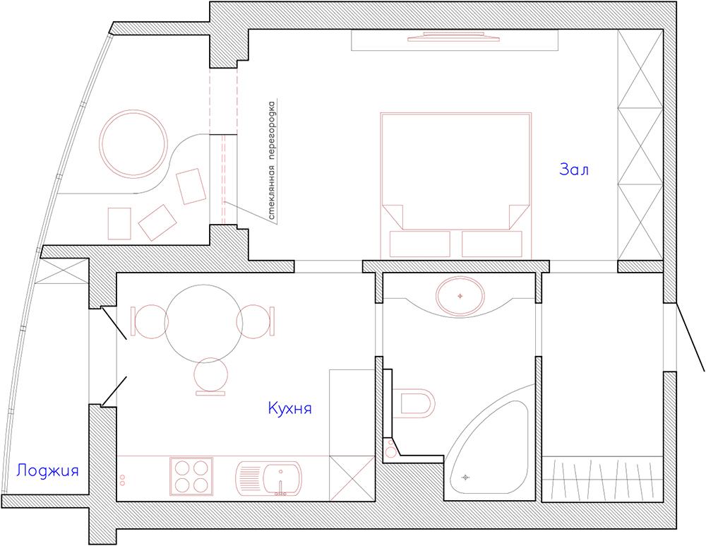 Современный дизайн однокомнатной квартиры-студии