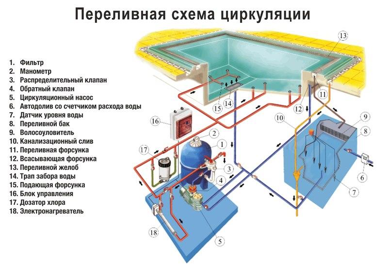 Схема переливной циркуляции воды в бассейне