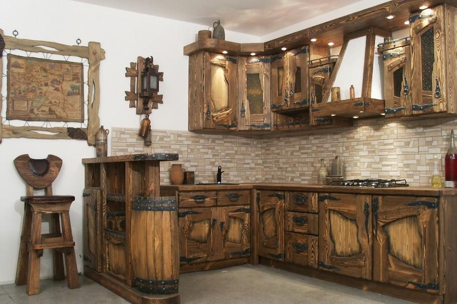 Браширование кухонного гарнитура в стиле кантри