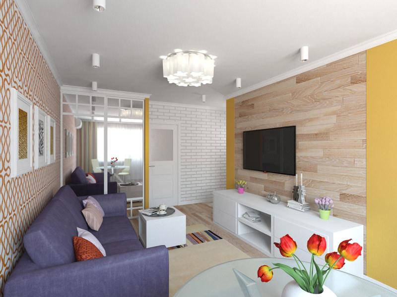 Самый простой способ зонирования заключается в различном оформлении стен