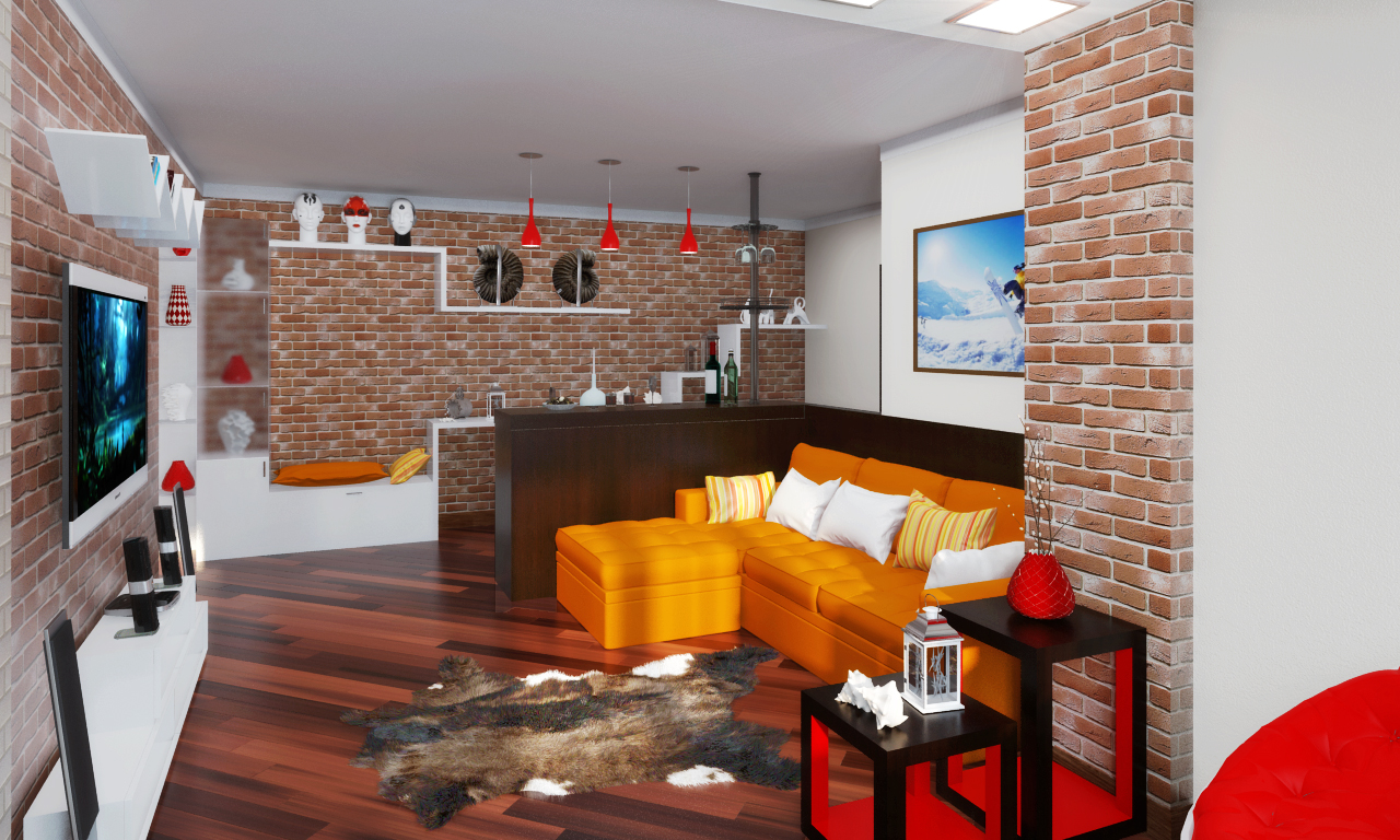 В стиле лофт предпочтение отдается кирпичным стенам, деревянным элементам, мебели грубого типа