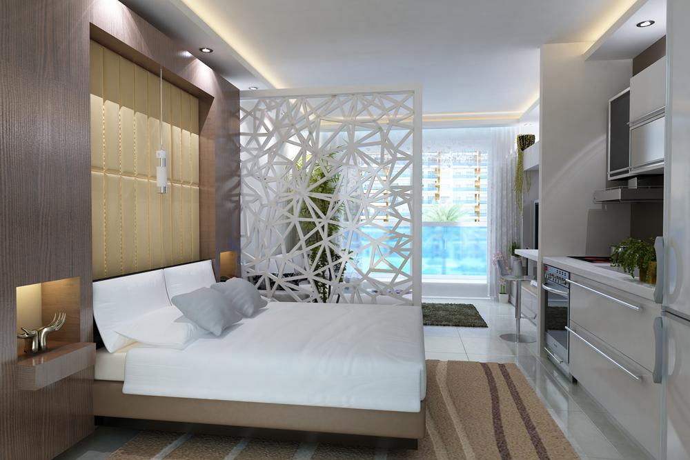 Кровать в квартире-студии отделяется ширмой