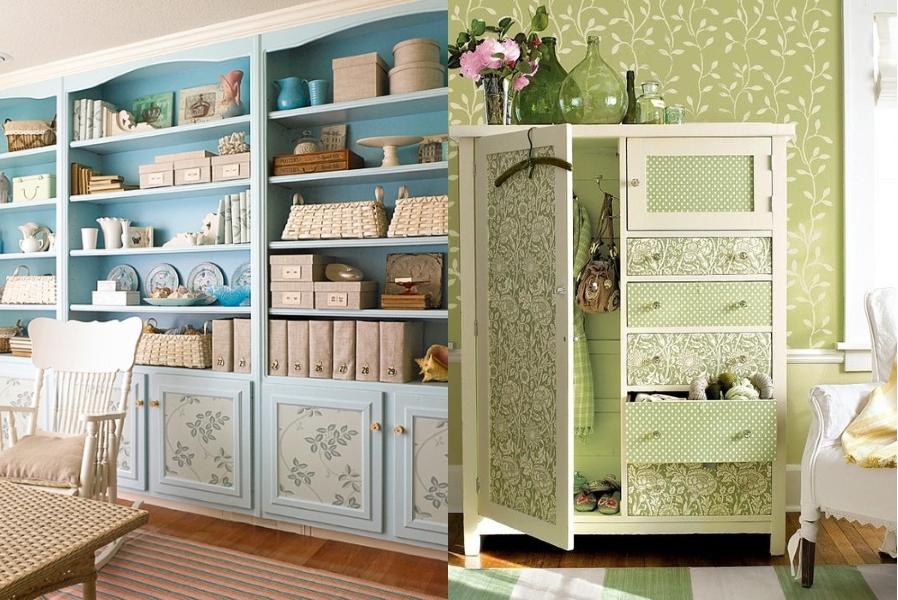 Обновление старых шкафов обоями