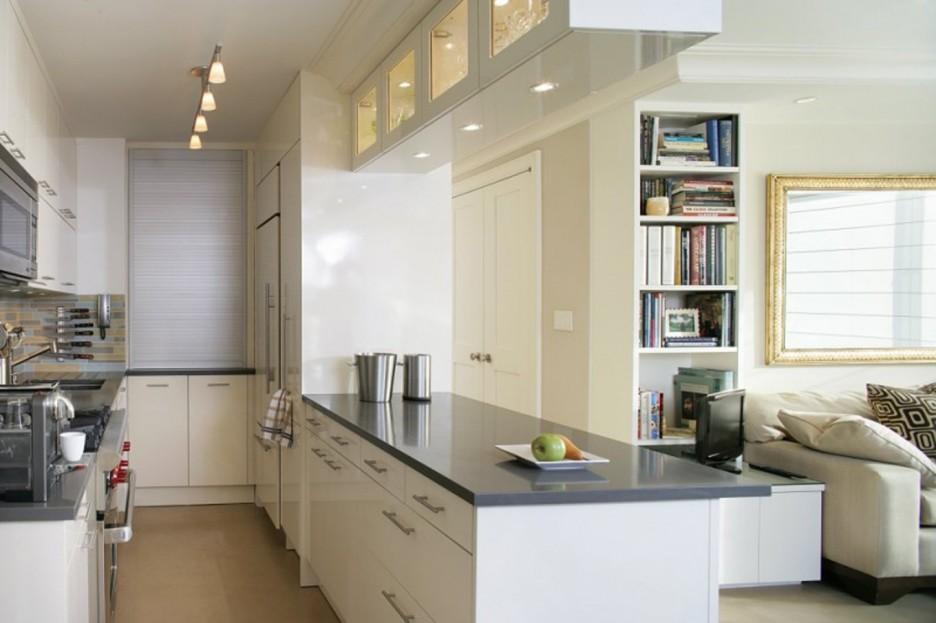 Дизайнеры предпочитают разделять квартиры-студии на 2 зоны: гостиную и кухню