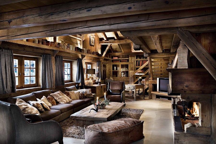 Мебель в стиле рустик изготавливается из натурального дерева