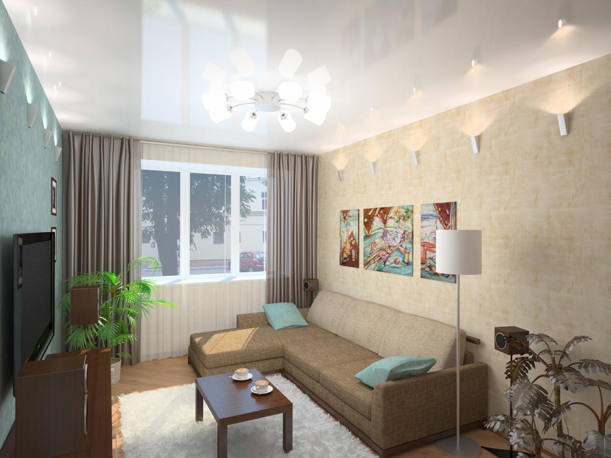 Дизайн интерьера маленькой гостиной прекрасно дополнит глянец на потолке