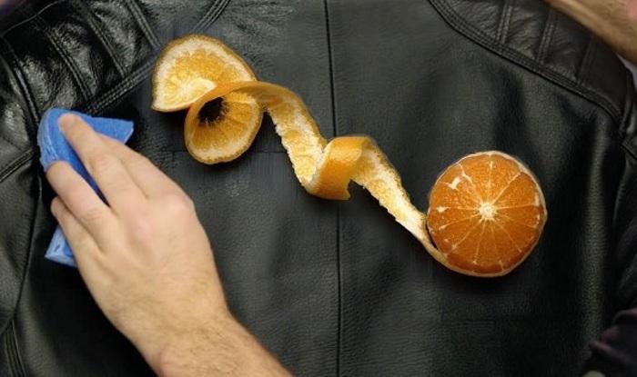 Чистка кожаной куртки корками апельсина