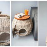 Фото 24: Плетеный домик для кошки и тумбочка