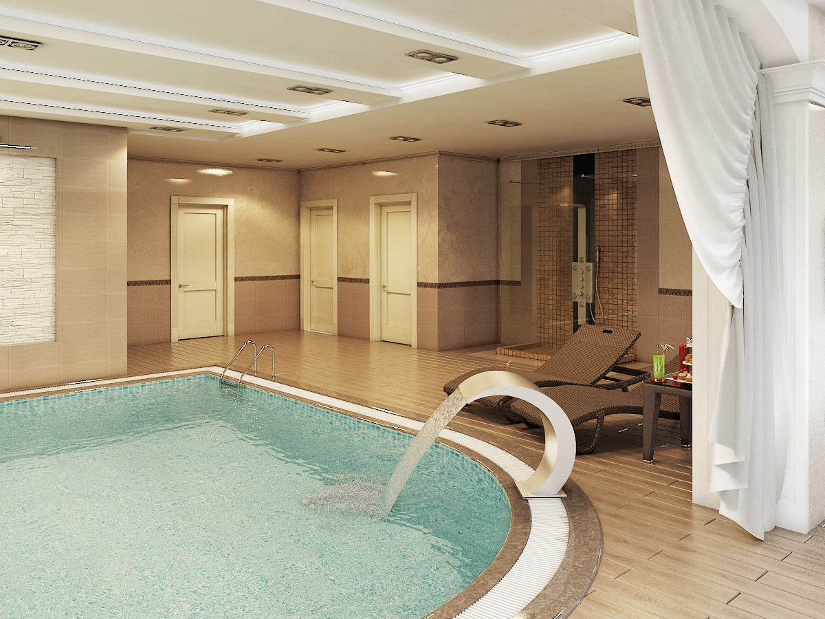 Большой бассейн в частном доме