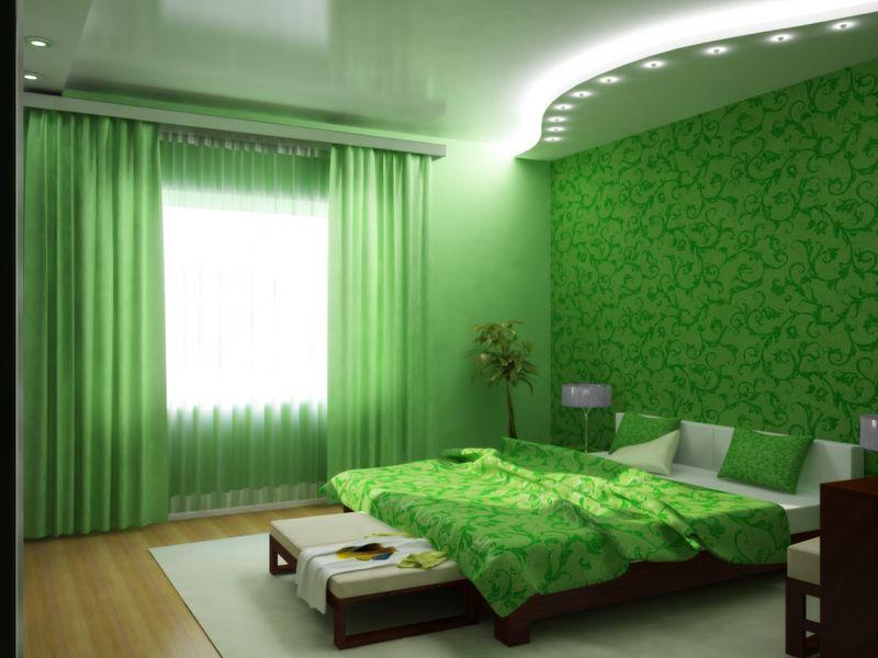 Дизайн квартиры студии в зеленом цвете