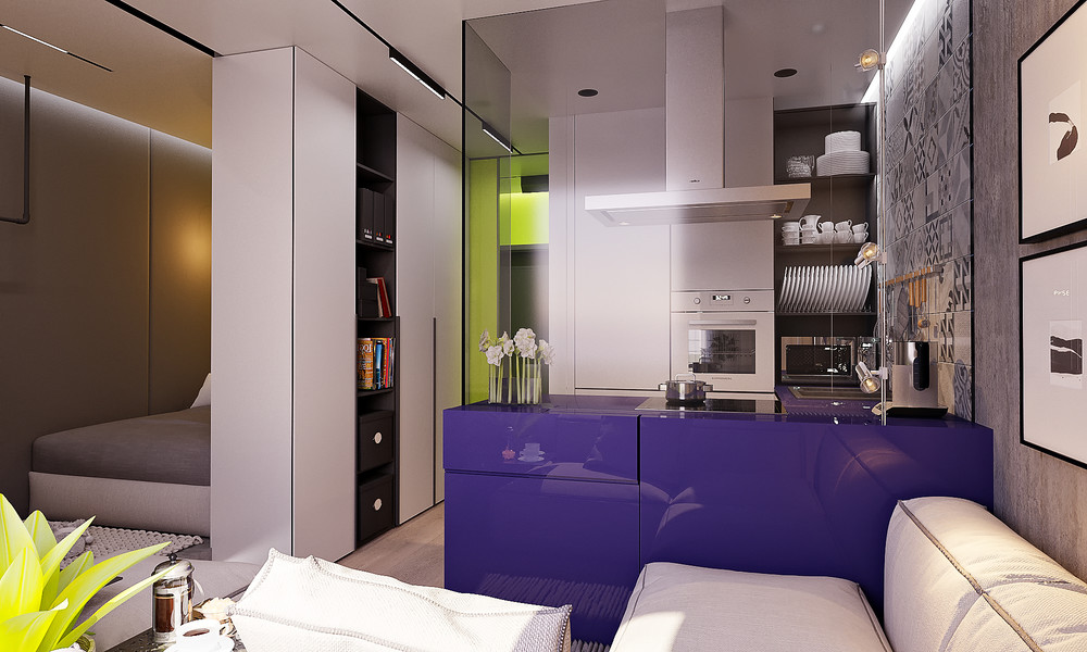 Дизайн квартиры студии 22 кв.м с одним окном