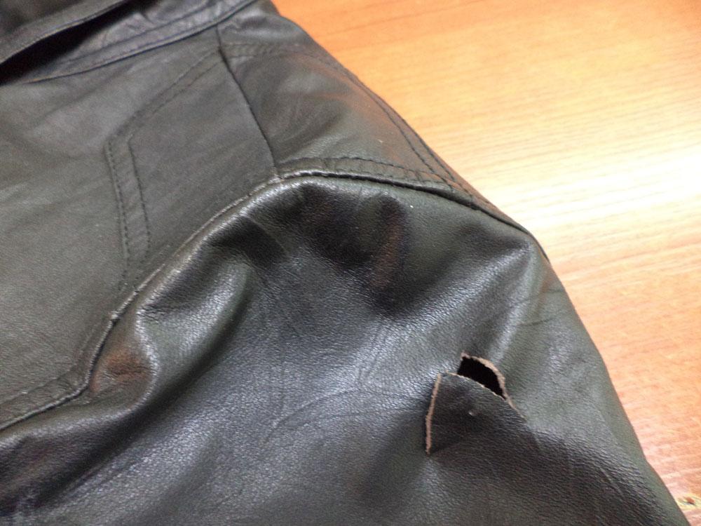 Ремонт дырки на кожаной куртке