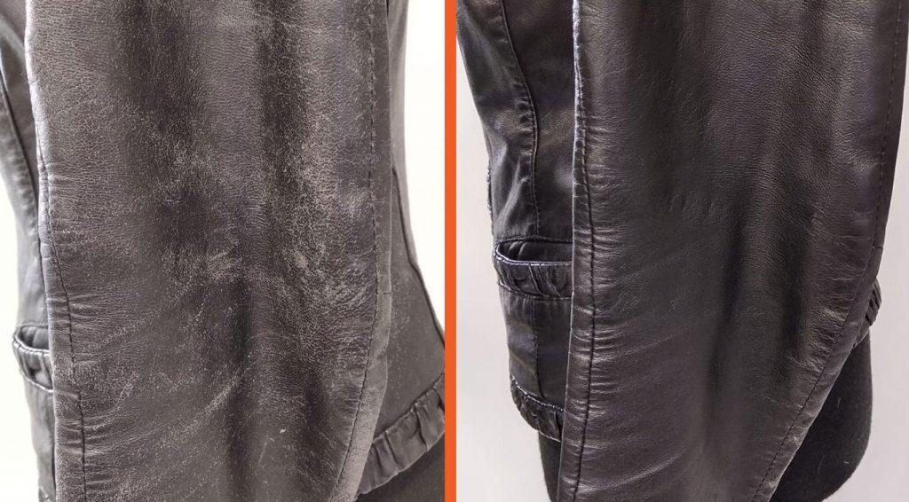 Восстановление кожаной куртки от потертости