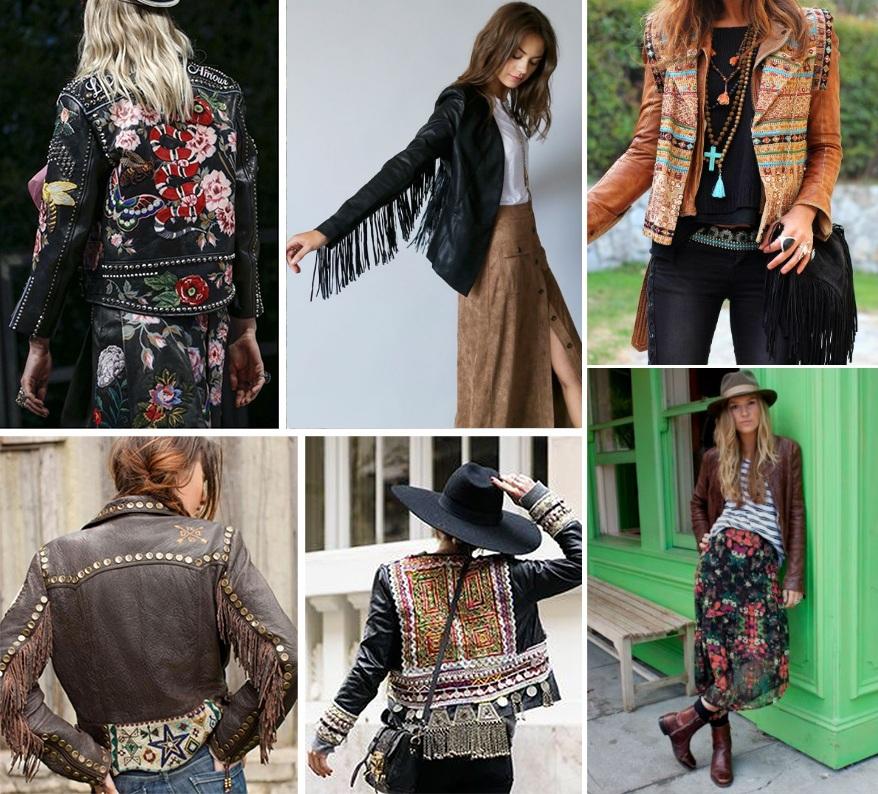 Кожаные куртки в стиле бохо