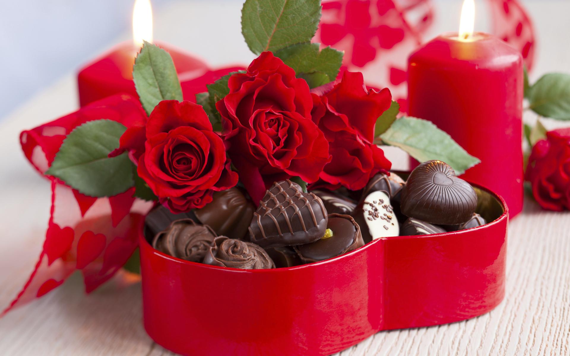 Букет роз и шоколад на 14 фераля