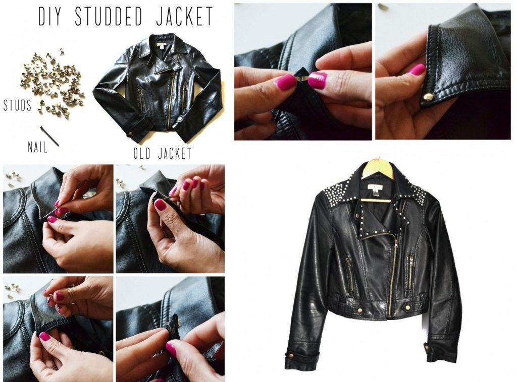 Декор кожаной куртки кнопками