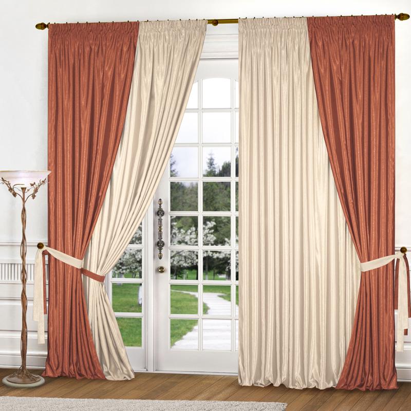 Сочетание двух цветов полотен для штор в гостиной