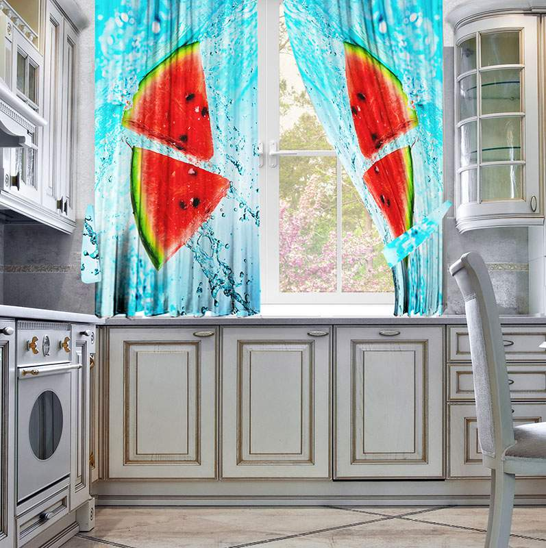 Фотошторы на кухне с принтом арбуза