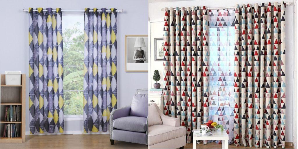 Геометричные шторы для гостиной в стиле модерн